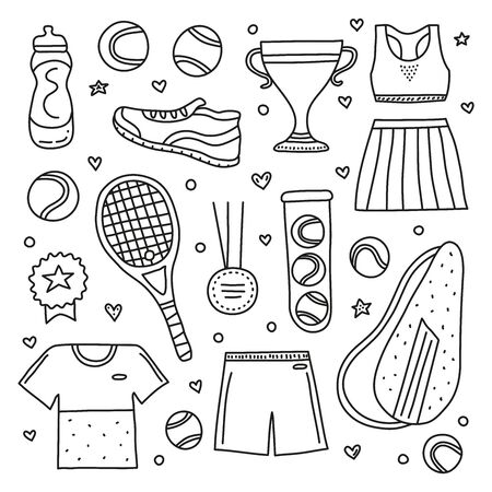 Set of doodle outline big tennis and sport items, equipment, clothes isolated on white background. Ilustração