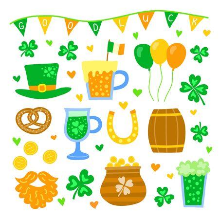 Ensemble d'articles colorés de griffonnage pour la célébration de la Saint-Patrick isolé sur fond blanc.