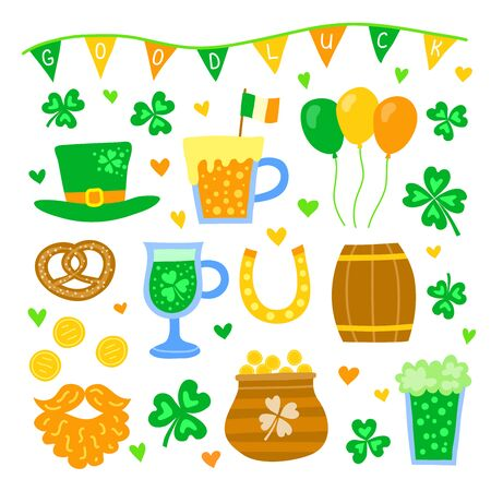 Set of doodle colorful items for Saint patrick's day celebration isolated on white background.