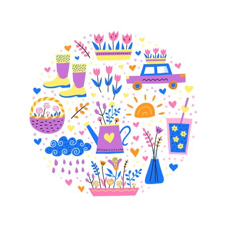 Simple doodle colorful spring icons composed in circle shape. Perfect for kids design. Ilustracja