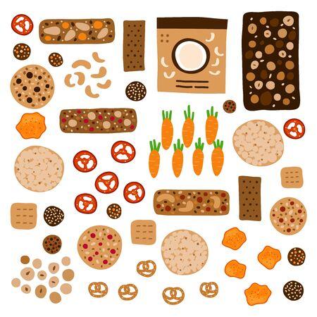 Ensemble de collations saines colorées de griffonnage, y compris des barres de céréales, des biscuits à grains entiers, des chips de légumes, du pain croustillant et d'autres aliments isolés sur fond blanc. Vecteurs