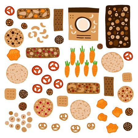 Set of doodle colored healthy snacks including granola bars, whole grain cookies, vegetable chips, crispbread and other foods isolated on white background.