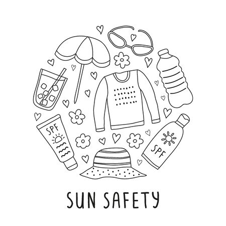 Doodle sun safety icons in circle.
