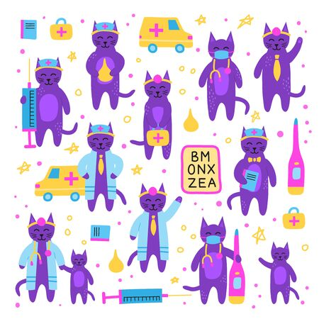 Set of doodle doctor cats characters.