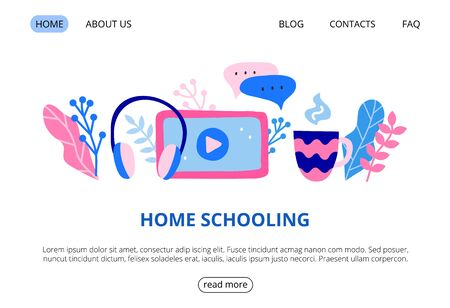 Web page template with big headphones, tablet, play video button, chat bubble, cup, leaves. 向量圖像