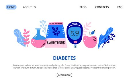 Web page template with big flask, glucometer, sweetener, apple, leaves.