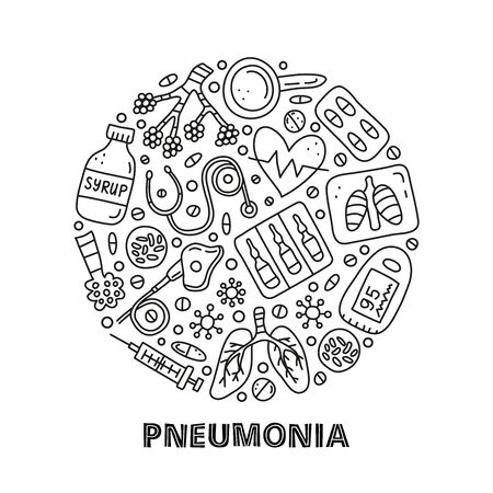 Doodle outline pneumonia icons in circle.