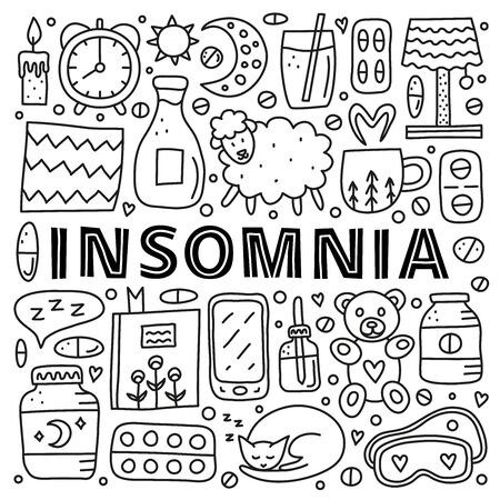 Poster with lettering and doodle outline insomnia icons.