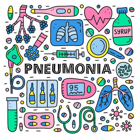 Poster with lettering and doodle colored pneumonia icons . Illustration