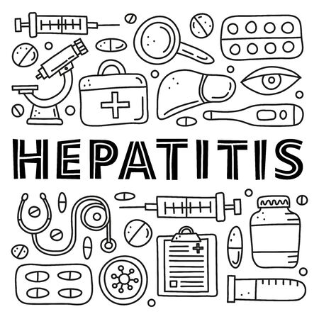 Poster with doodle outline hepatitis medical icons. 向量圖像