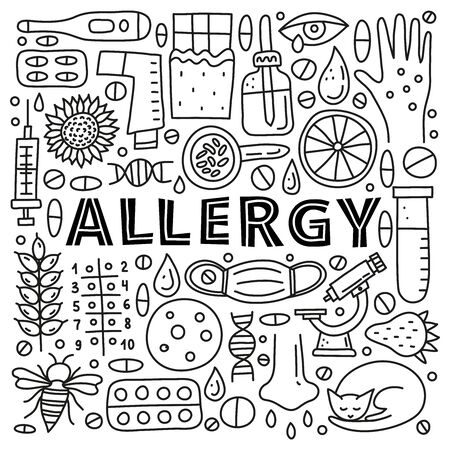 Poster with lettering and doodle outline allergy icons.