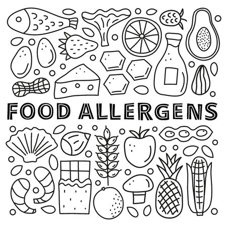 Poster with lettering and doodle food allergens.