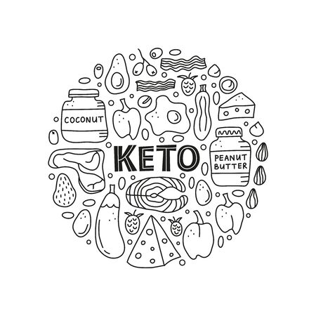 Doodle outline black and white foods for ketogenic diet including cheese, meat, salmon, avocado, eggs, butter, bacon, macadamia, raspberries in circle shape. Low carbs, high fats diet. Paleo nutrition