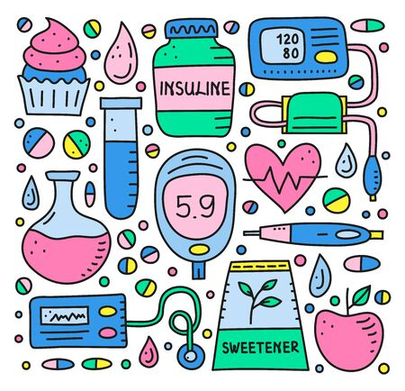 Set of doodle colored diabetes items. 向量圖像