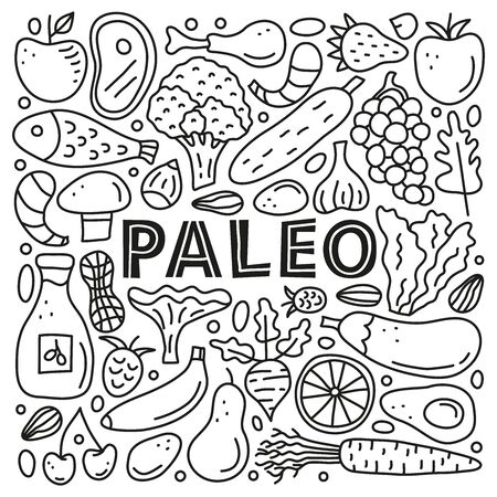 Poster with lettering paleo and doodle outline foods. Ilustracja