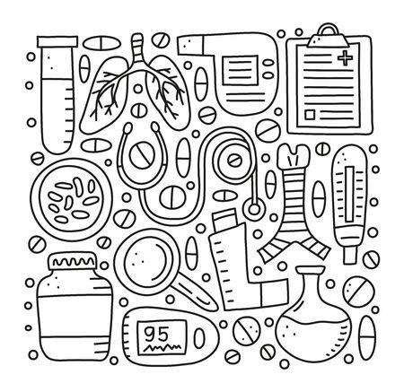 Set of doodle outline pulmonology items. Ilustrace