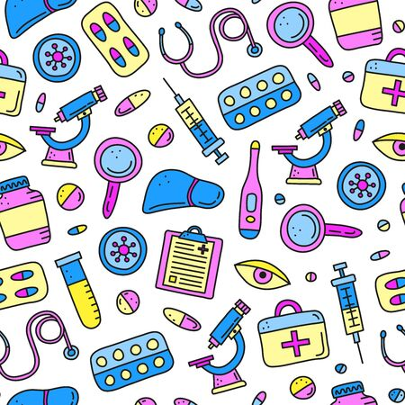 Seamless pattern with doodle colored hepatitis medical icons.
