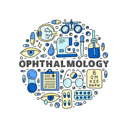 Doodle colored ophthalmology icons including runny eye, pipette bottle, cornea, blank clipboard, lens case, glasses, autorefractometer composed in circle shape. 向量圖像