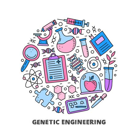 Doodle colored genetic engineering icons in circle. 向量圖像