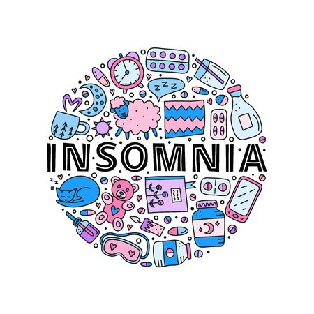 Doodle colored insomnia and bed time icons in circle.