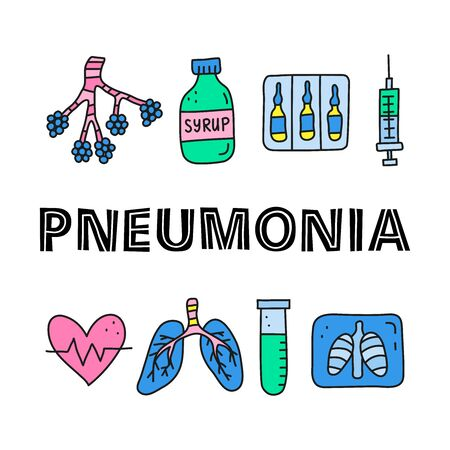 Poster with lettering and doodle colored pneumonia icons. 向量圖像