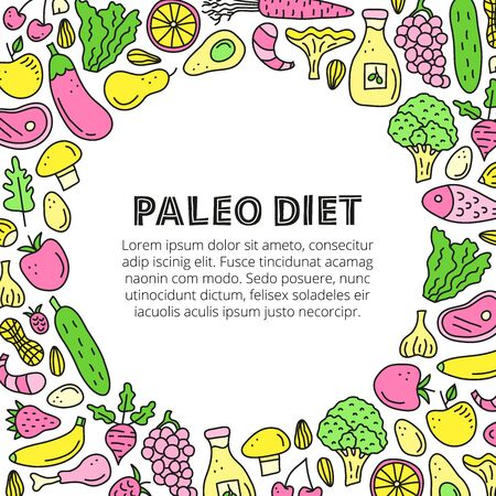 Poster with lettering paleo and doodle colored foods.