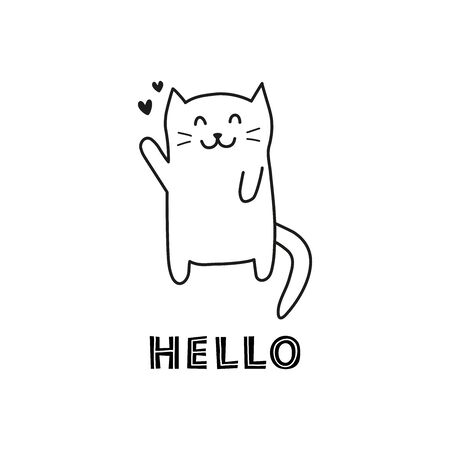 Doodle welcoming cat with lettering hello.