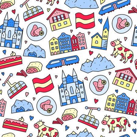Seamless pattern with doodle colored finland icons.
