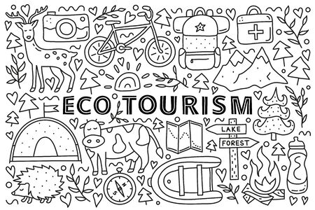 Poster with lettering and doodle outline eco tourism icons including deer, camera, bicycle, sun, backpack, first aid kit, mountains, tent, cow, hedgehog, compass, boat isolated on white background.