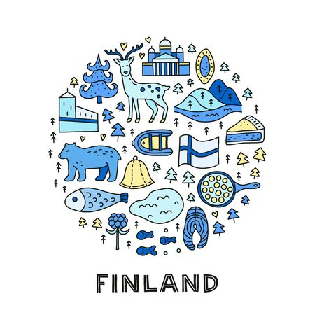 Doodle colored finland icons in circle. 向量圖像