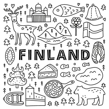 Poster with lettering and doodle outline finland icons. 向量圖像