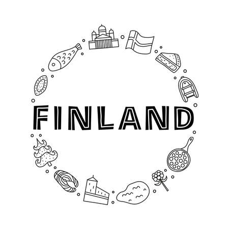 Doodle outline Finland icons in circle. 向量圖像