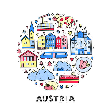 Doodle colored Austria icons in circle.