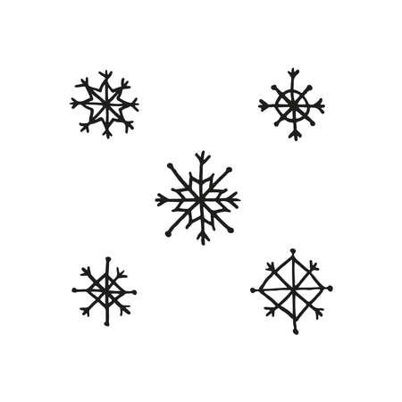 Set of hand drawn snowflakes. 向量圖像