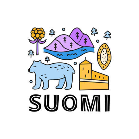 Poster with lettering and doodle colored Finland icons. 向量圖像