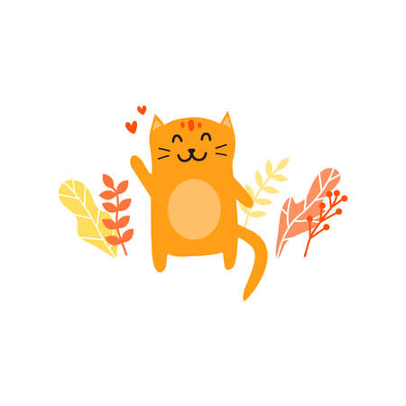 Doodle welcoming cat with hearts, autumn leaves around. 向量圖像