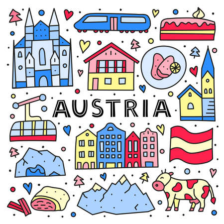 Poster with lettering and doodle colored Austria icons.
