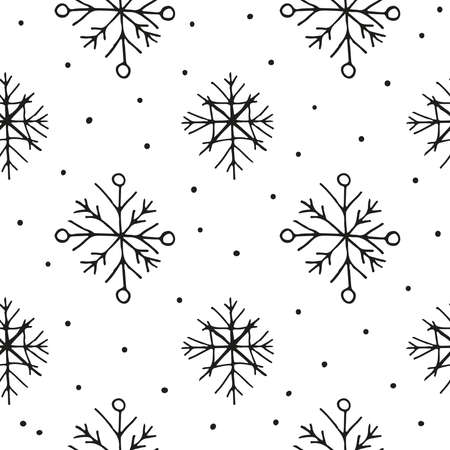 Seamless pattern with hand drawn snowflakes, dots.