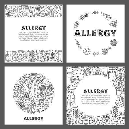Set of cards with lettering and doodle outline allergy icons.
