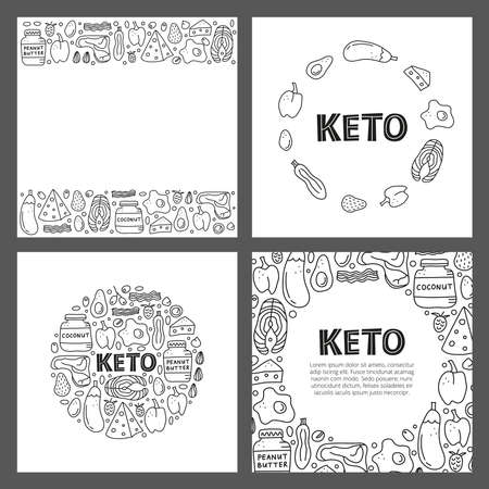 Set of cards with lettering and doodle outline keto diet foods.