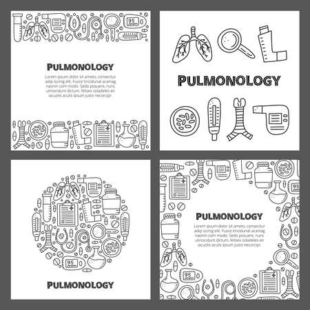 Set of cards with lettering and doodle outline pulmonology items. 向量圖像