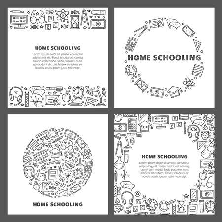 Set of cards with doodle outline education icons.