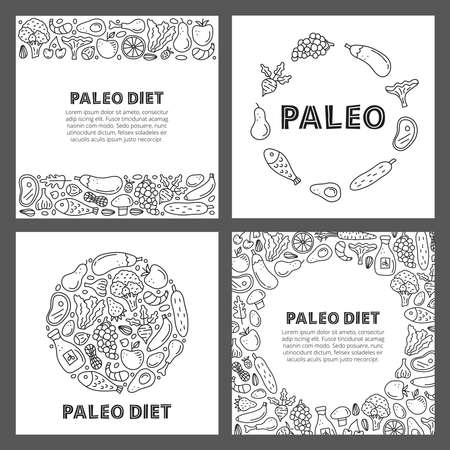 Set of cards with doodle outline paleo foods.