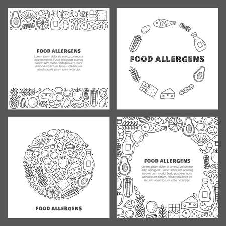 Set of cards with doodle outline food allergens.
