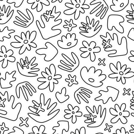 Seamless pattern with doodle tropical leaves and flowers.