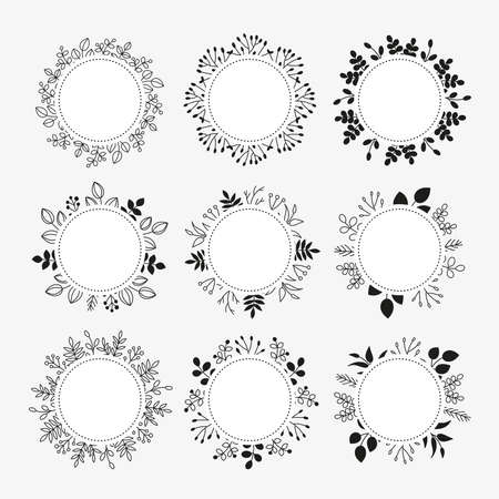 Round wreaths with doodle leafy twigs, wild herbs, plants, berries.