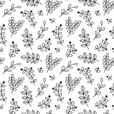 Seamless pattern with leafy twigs, wild herbs and berries.