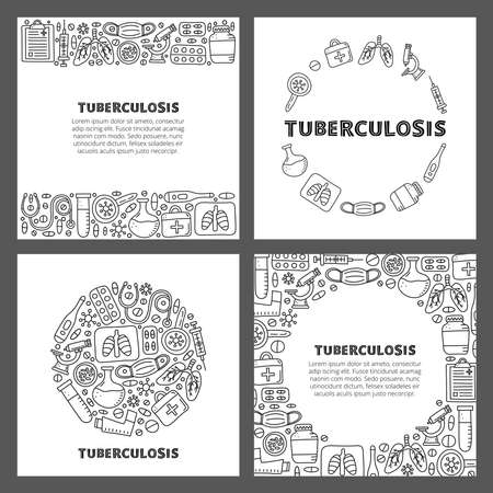 Set of cards with lettering and doodle outline tuberculosis items. Ilustração