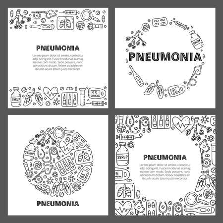 Set of cards with lettering and doodle outline pneumonia icons.