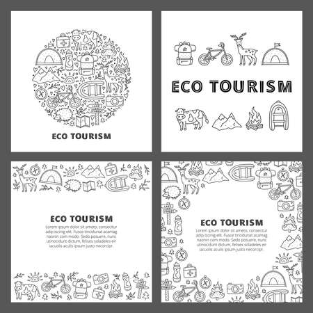 Set of cards with lettering and doodle outline eco tourism icons. 向量圖像